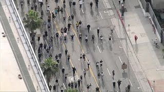 Watch Live: Largely peaceful protests in Hollywood come up against Curfew  | NBCLA