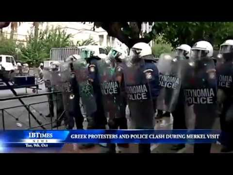 Greek protesters and police clash during Merkel visit