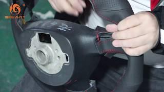 MEWANT--for Volkswagen Golf 5 Mk5 GTI Hand Stitch Car Steering Wheel Install