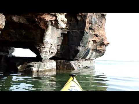 Exploring Devils Island Sea Caves, Apostle Islands, Lake Superior, Wisconsin, 8-1-13