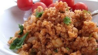 Easy & Healthy Bulgur And Tomato Pilaf W/chick Peas Recipe!
