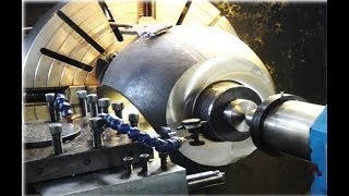 Close-up of work process on heavy lathe - Dangerous Heavy Lathes