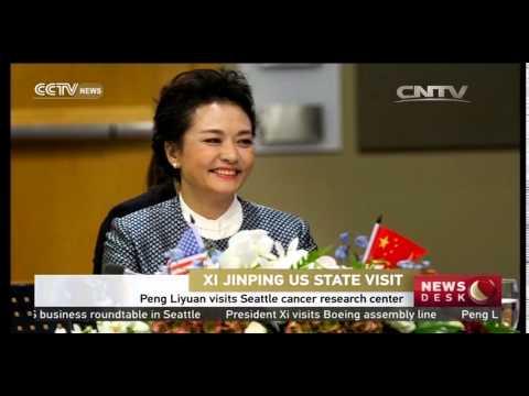 Peng Liyuan visits Seattle cancer research center