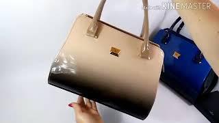 Обзор сумки бежевой женской лакированной