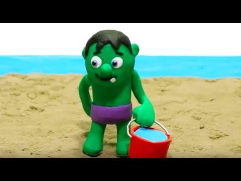 SUPERHERO BABY ON THE BEACH! Play Doh Stop Motion and Cartoons For Kids 馃挄 Superhero Babies