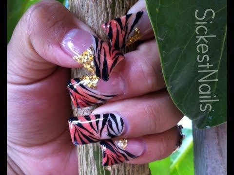My Acrylic Nailsmis Uñas De Acrilicotiger Print Nailsdiseño De