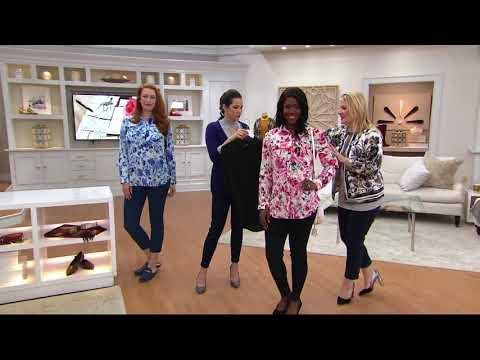 Isaac Mizrahi Live! Woven Button Front Tunic Blouse with Pockets on QVC