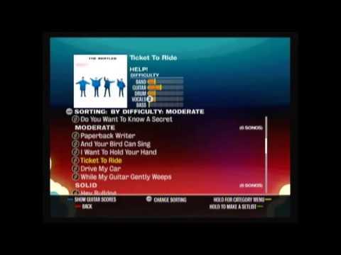 Rockband Beatles Song playlist