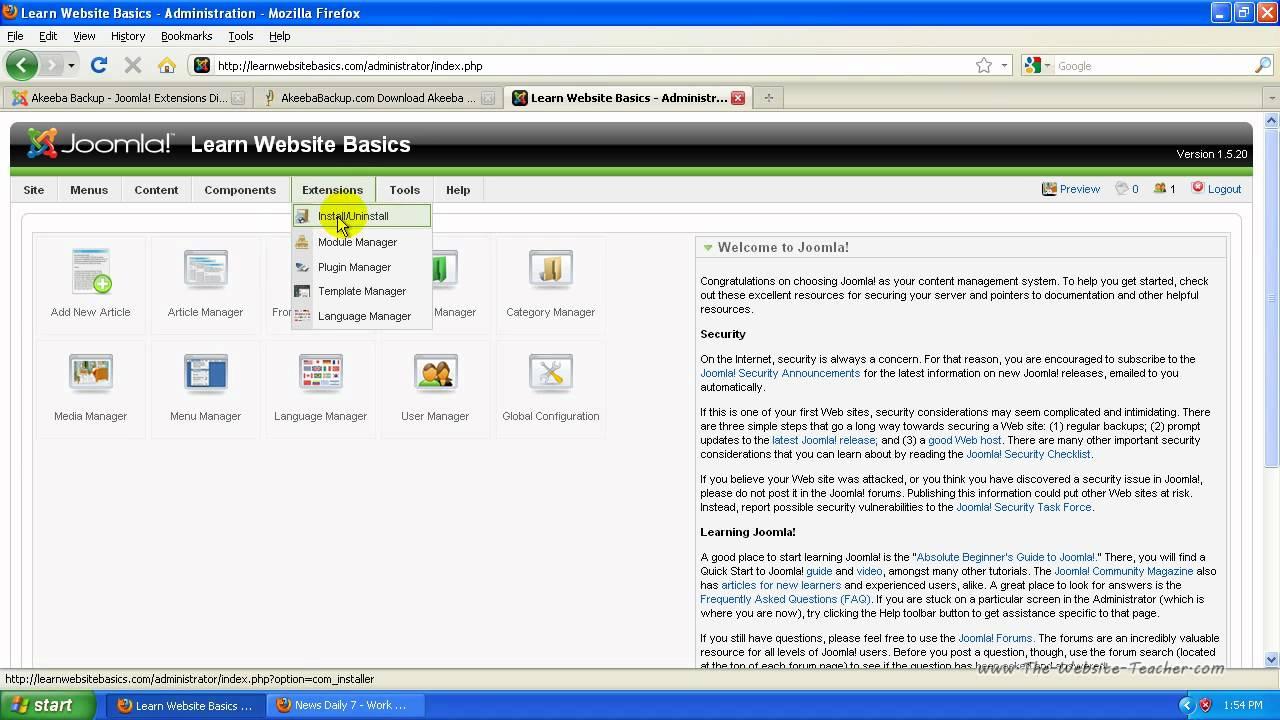 akeeba backup for joomla 1.5
