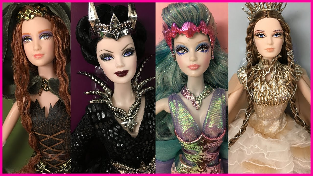 entire collection pretty nice clearance sale BARBIE COLLECTOR FARAWAY FOREST ELF, WOMAN OF THE WHITE WOODS, WATER SPRITE  AND QUEEN OF DARK FOREST