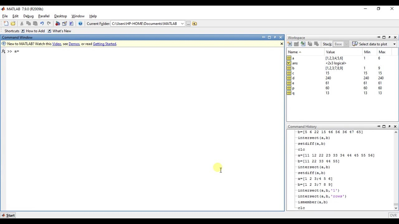 MATLAB Programming 26 - Functions for set operations (2)