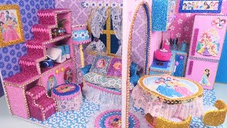 DIY Miniature Disney Princess Dollhouse~ (part2) Livingroom,  Kitchen, Bedroom and Bathroom