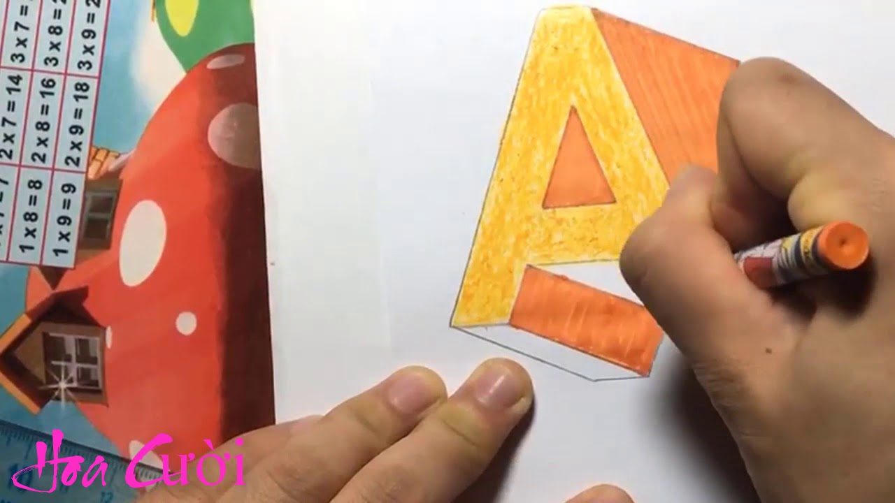 Vẽ chữ A 3D bay trên mặt giấy – Draw letter A 3D fly on paper – 3d drawings on paper