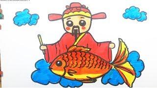 Vẽ Ông Công Ông Táo cưỡi cá chép về trời   Vẽ tranh ngày tết
