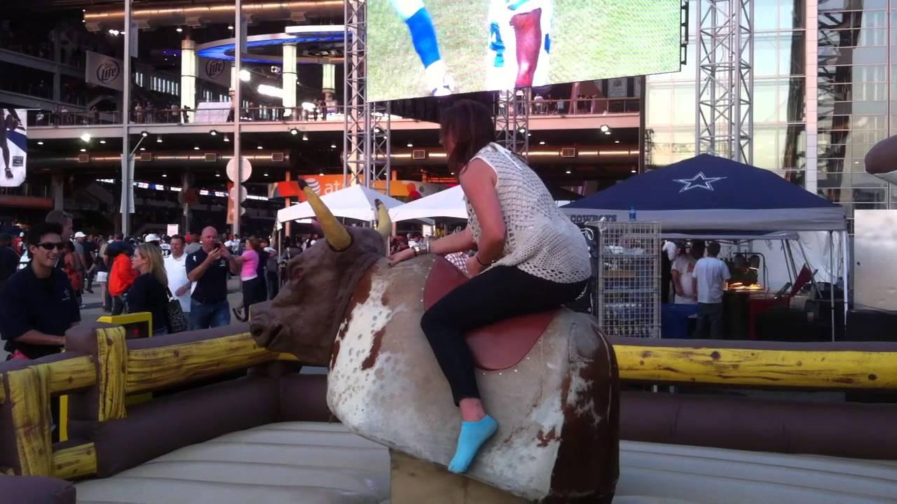 mechanical bull riding at cowboy stadium