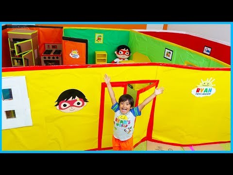 Ryan Pretend Play Giant Mansion Box Fort House Tour!!!