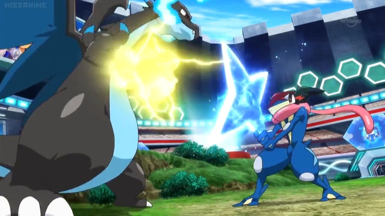 how to draw ash greninja vs mega charizard