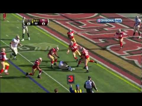 Donte Whitner monster hit Pierre Thomas 49ers vs Saints NFC 2012 HD