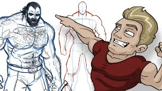 How to Draw BIG BADASS DUDES - Extreme Male Muscle Anatomy Tutorial!