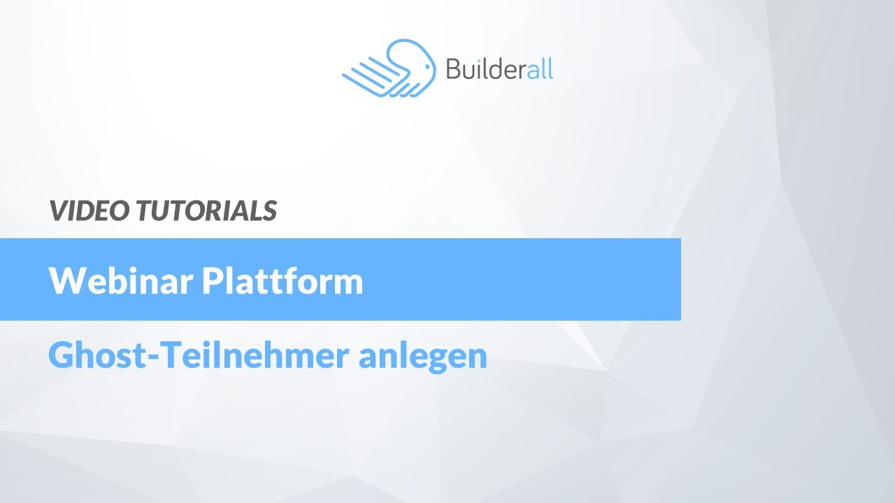 Webinar Plattform - Ghost-User Anlegen