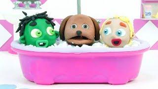 Shower dog 💕 Superhero Play Doh Stop motion cartoons