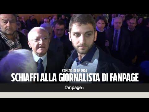 """Comizio De Luca, schiaffi alla giornalista di Fanpage.it: """"Siete monnezza!"""""""