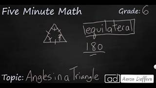 6th Grade Math Angles in a Triangle