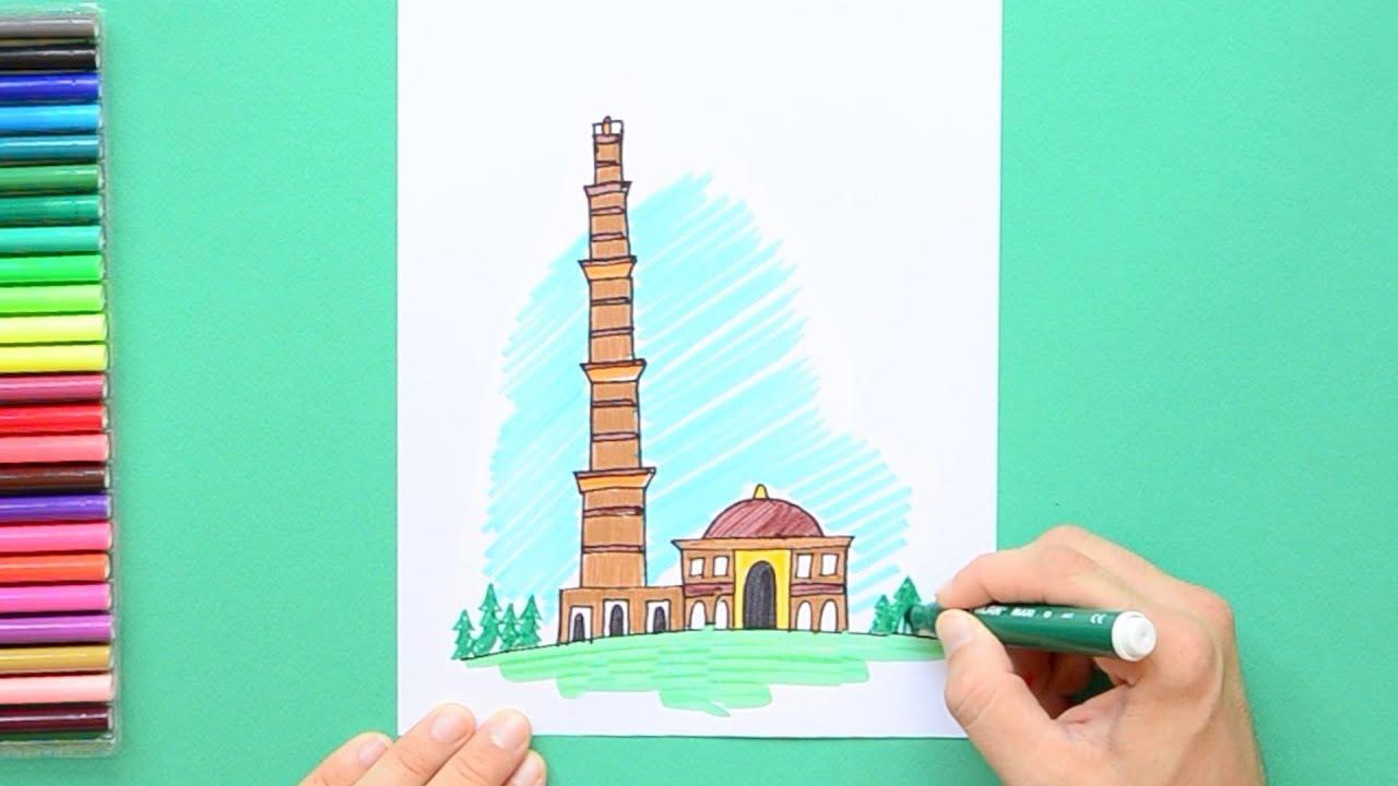 How to draw qutab minar new delhi
