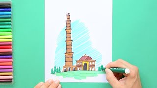 How to draw and color the Qutab Minar, New Delhi