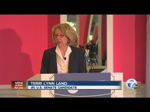 Gary Peters and Terri Lynn Land speak at Mackinac