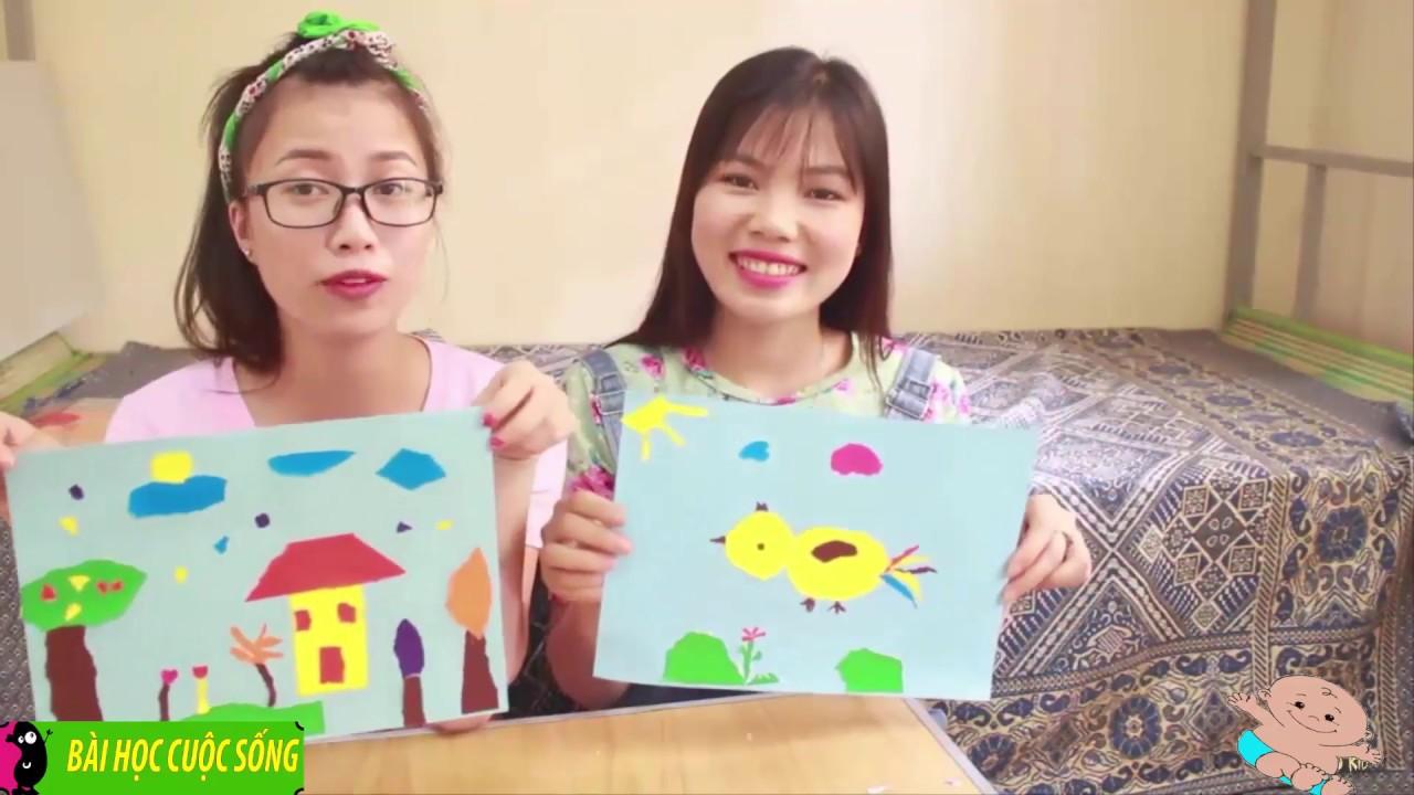 Hướng dẫn bé xé dán tranh con gà và tranh phong cảnh    kể chuyện cho bé yêu