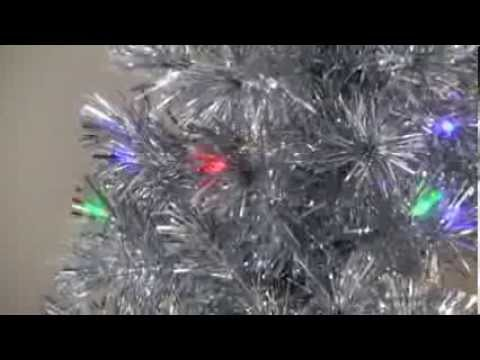 Silver Clover Medium Fiber Optic Pre Lit Christmas Tree 5 Ft Multicolor Product Review Video