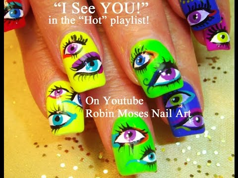 Easy Nail Art tutorial - DIY Smokey Neon Eyes Design!