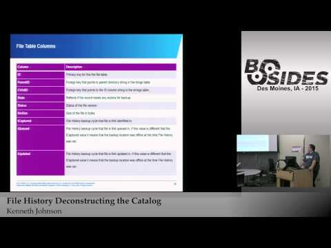 BSidesIOWA 2015 Track1: File History Deconstructing the Catalog by Kenneth Johnson