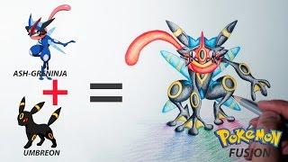 Pokemon Fusion Drawing -  ASH-GRENINJA + UMBREON #8