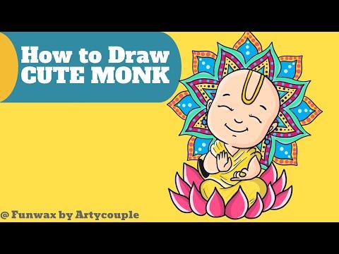 How to draw Buddha monk cute happy | Draw beautiful mandala for Guru Purnima| Easy drawing tutorial