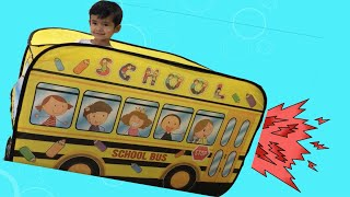 Unboxing School Bus Tent Toy Kids With Wheels On The Bus Song