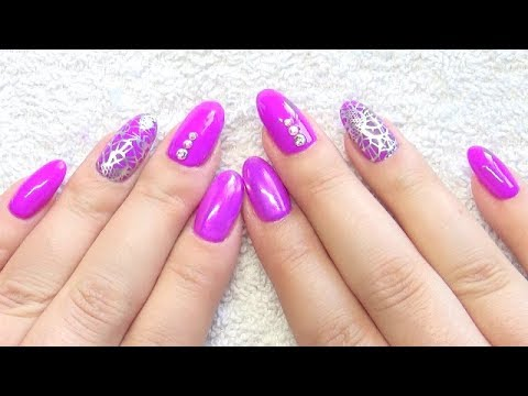 Gel Nails Infill Purple Silver Stamping Nail Design Youtube