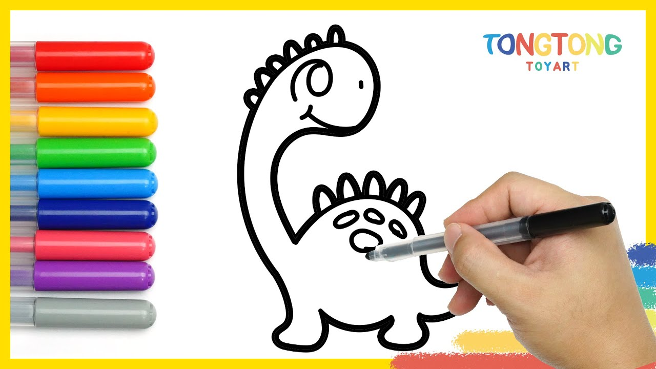 Art tips for children Dinosaurs coloring pages easy simple
