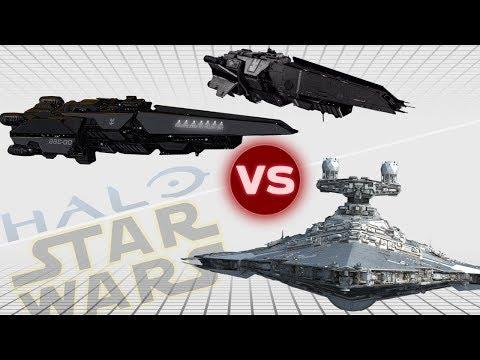 Victory II Star Destroyer vs. UNSC Halberd Destroyer (x2) | Halo vs Star Wars: Who Would Win
