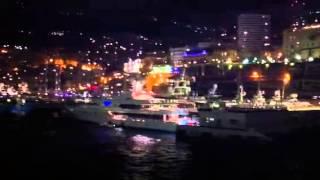 Monaco port at night - Monaco Yacht Show