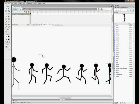 Macromedia Flash 8 tutorial - running man (stickman)