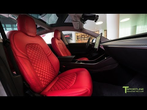 Silver Tesla Model 3 Customized with a Red Vegan Seat Upgrade Kit in Diamond Quilt Design