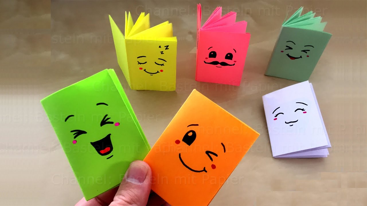 Diy Mini Notebooks From One Sheet Of Paper Cute Ideas Easy Diy School Supplies Origami Emoji