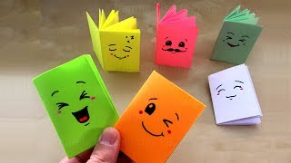 DIY Mini Notebooks from one sheet of Paper - Cute Ideas: Easy DIY School Supplies - Origami. Emoji