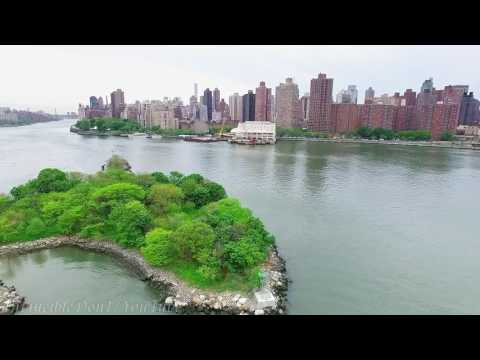 DJI Phantom 3 Drone flight over mini Island in New York City ( Mill Rock Island / Mill Rock Park )