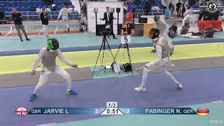 2018 1234 T128 M F Individual Halle GER European Cadet Circuit BLUE JARVIE GBR vs FABINGER GER