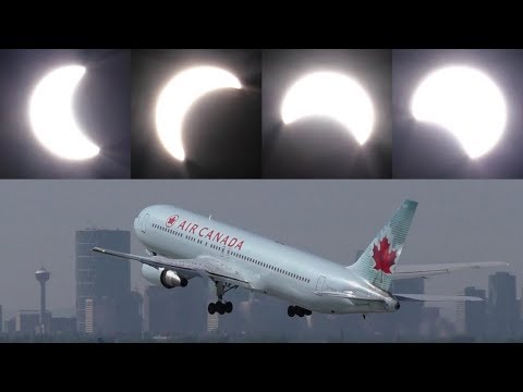 Plane Spotting During a Partial Solar Eclipse | YYC Calgary International Airport ᴴᴰ