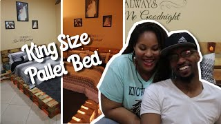 We've Built a Simple DIY King Size Pallet Bed with Lounge Area (No Cutting)