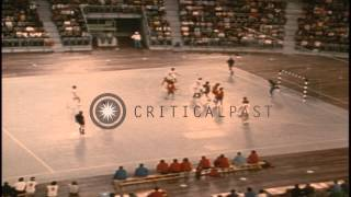 The United States plays a handball game against Spain at the 1972 Summer Olympics...HD Stock Footage